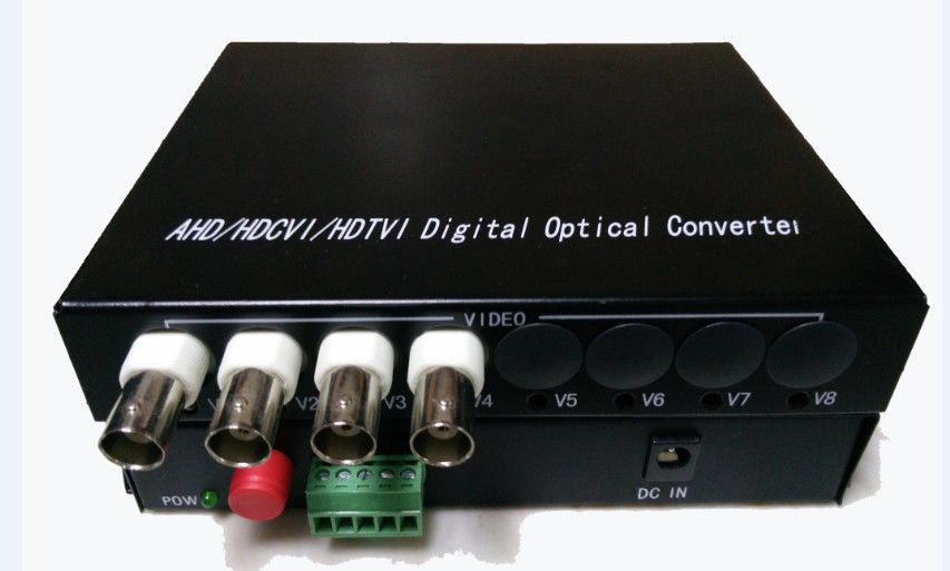 Fiber Optical 4ch 720P HD TVI / CVI / AHD Transmitter Receiver Industrial Grade