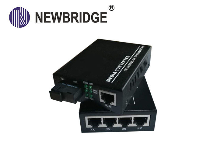Gigabit 4rj45 4 Port 10 100 1000M Media Converter 4*10/100/1000 Base -TX Switch Over Fiber Cable